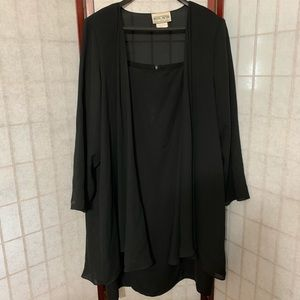 Plus size black dress with two jackets
